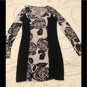Rose print block dress